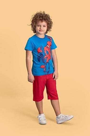 Spider-Man Spider Man Lisanslı Mavi Erkek Çocuk Kapri Takım Mavi